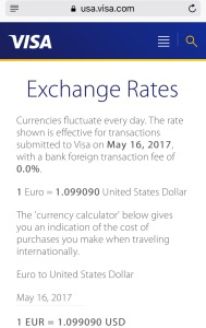 Screenshot from VISA showing the Euro to US Dollar exchange rate on May 16, 2017.