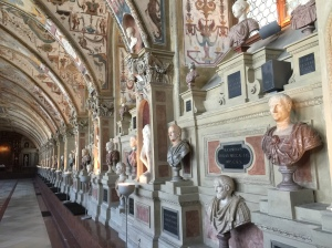 Busts of historic men line the walls of the Antiquarium in the Residenze in Munich.
