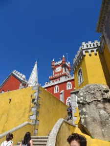 Bright yellow and red walls of the Pena Palace.