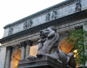 Lion at the Stephen A. Schwartzman Building of the New York Public Library