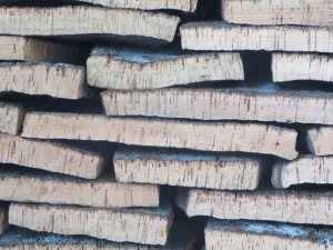 Stacks of flattened cork